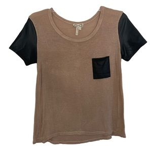 Brown Tee With Black Leather Pocket and Sleeves